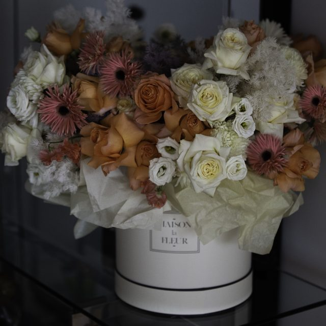 Garden of Eden - Classic white box with a mix array of flowers consisting of white Garden roses, classic premium roses, Lithiantus, and other array of flowers