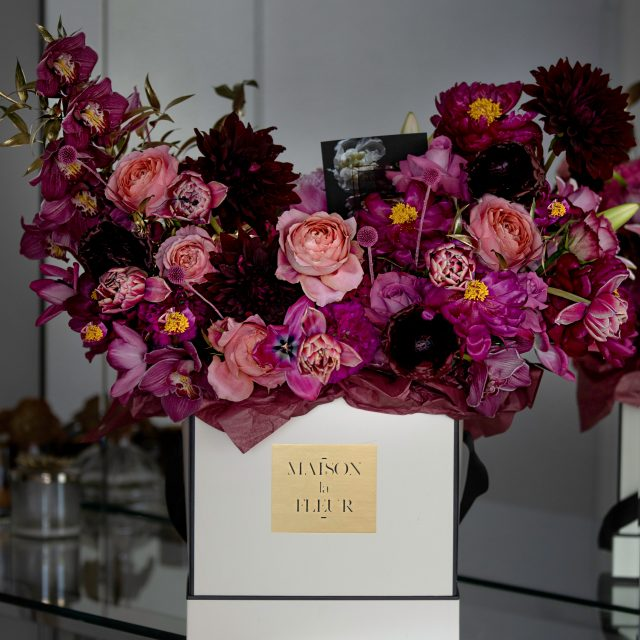 Thousand and One Night - Modern Square white box with Dutch tulips, fragrant garden roses, orchids and ranunculus