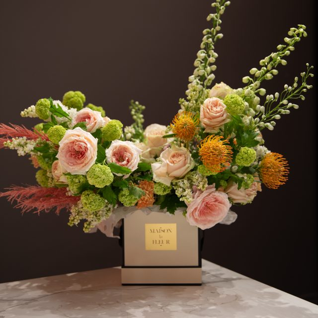 Dance of love - Modern square box with mix arrays of flowers and garden roses