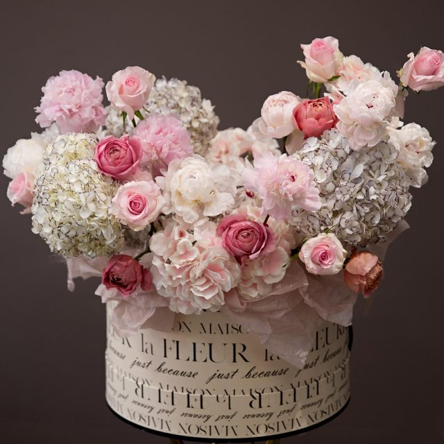 Summer romance - Extra large gift box with European gigantic hydrangeas, garden roses peonies and Lithiantus