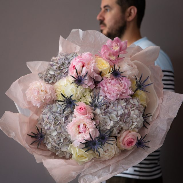 Delicate Love - Classic round bouquet with hydrangea, roses, orchid, peonies and roses