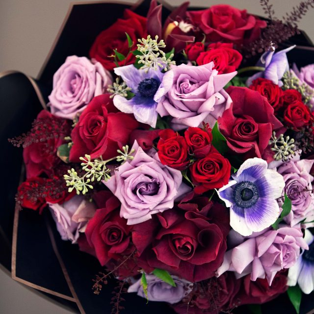 Red and purple rose bouquet