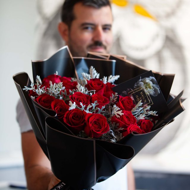 No Strings Attached - Two dozen beautiful premium red roses bouquet
