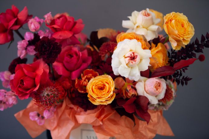 Autumn - A mix of Yellow, White  and Coral Garden roses